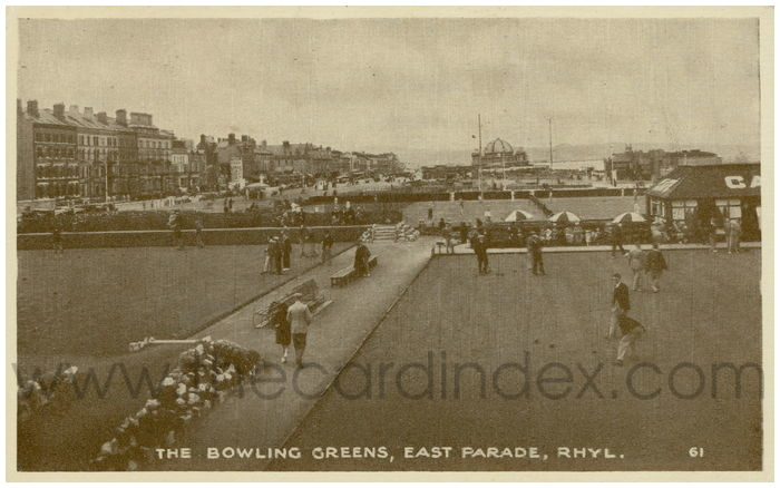 Postcard front: The Bowling Greens, East Parade, Rhyl.