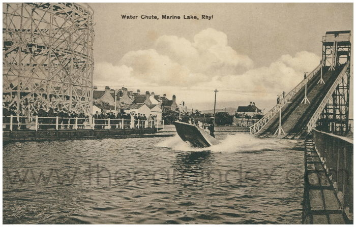 Postcard front: Water Chute, Marine Lake, Rhyl