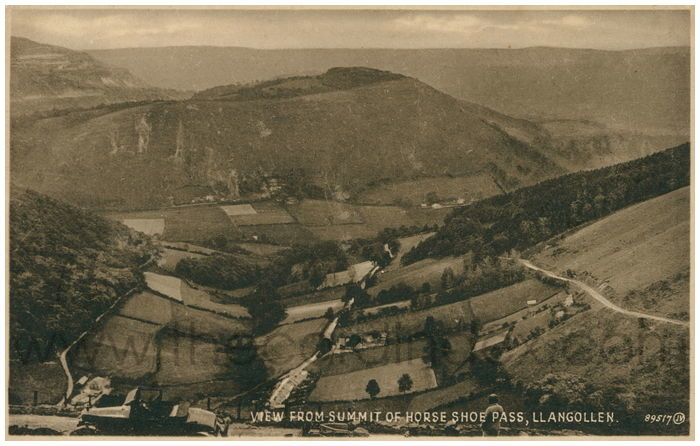 Postcard front: View from Summit of Horse Shoe Pass, Llangollen.