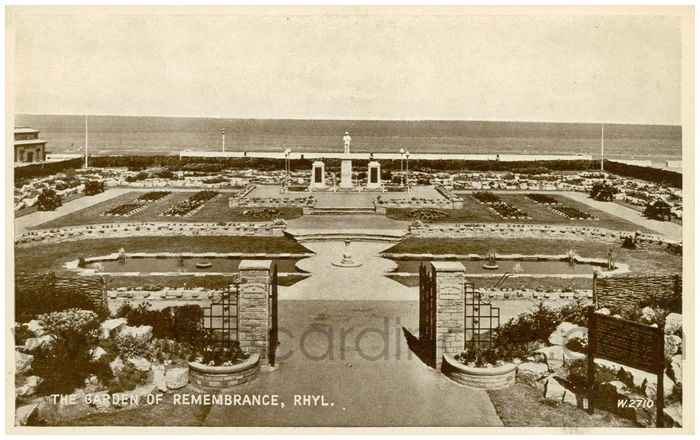 Postcard front: The Garden of Remembrance, Rhyl.