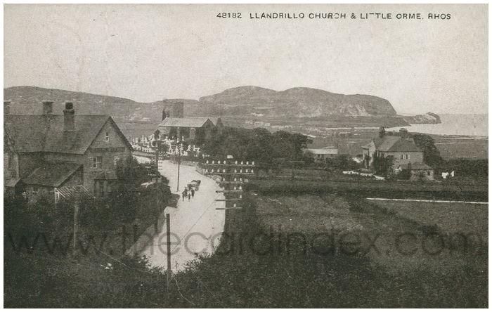 Postcard front: Llandrillo Church & Little Orme. Rhos