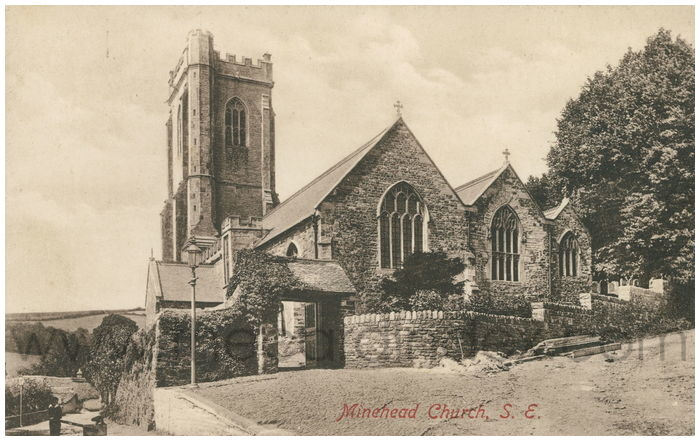 Postcard front: Minehead Church, S.E.