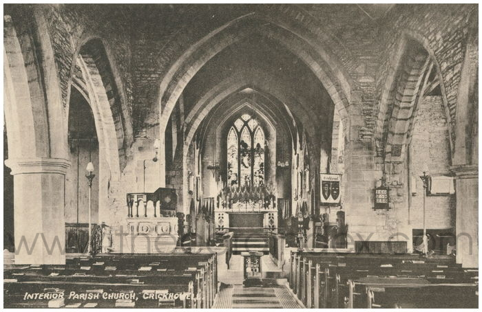 Postcard front: Interior Parish Church, Crickhowell.