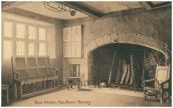 Postcard front: West Kitchen, Plas Mawr, Conway