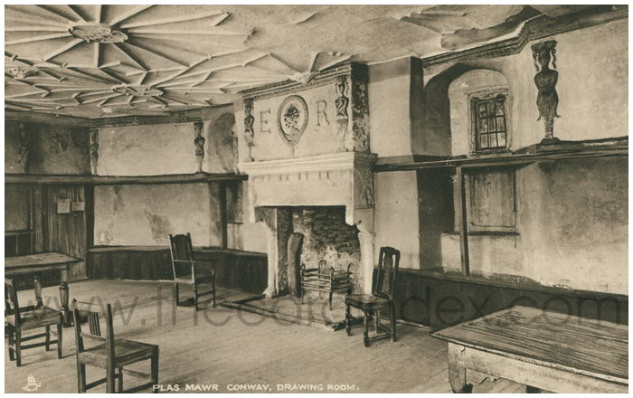 Postcard front: Plas Mawr, Conway. Drawing Room