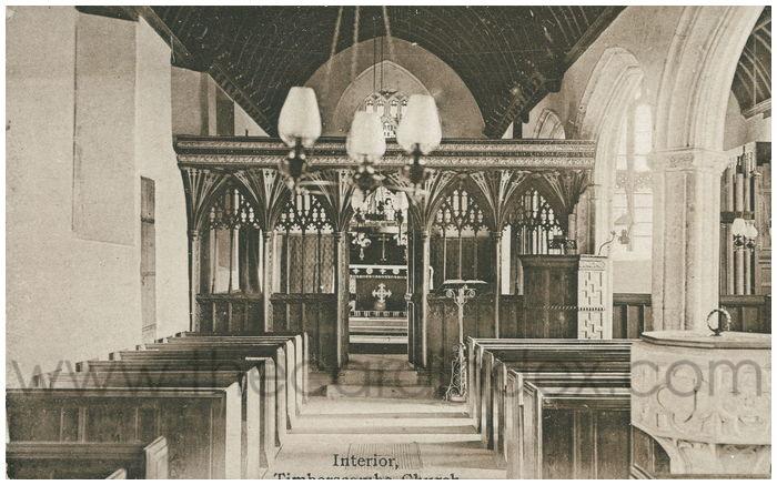 Postcard front: Interior, Timberscombe Church