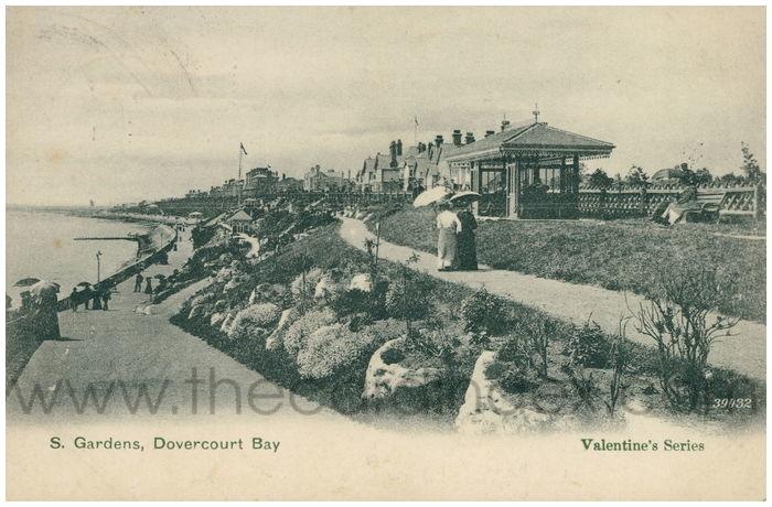 Postcard front: S. Gardens, Dovercourt Bay.