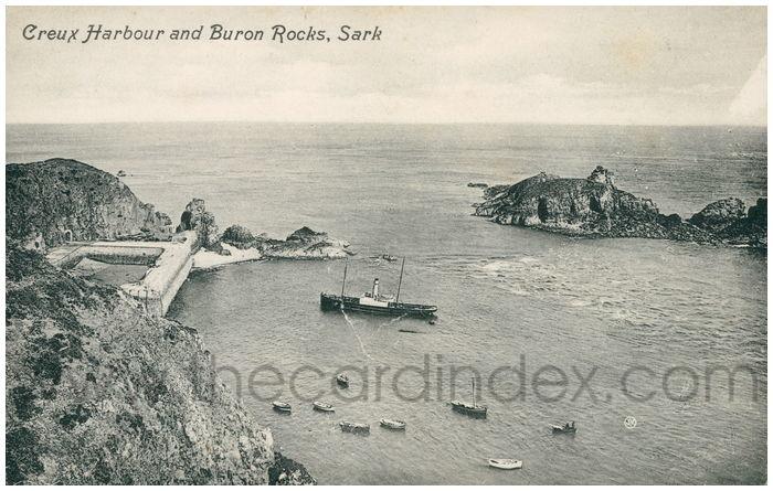 Postcard front: Creux Harbour and Buron Rocks, Sark