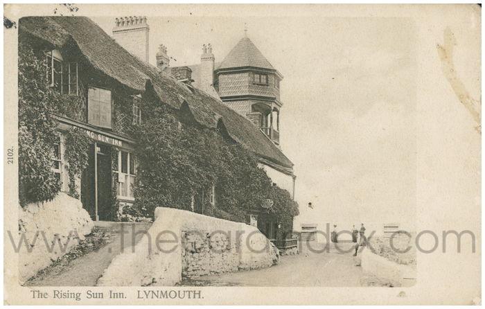 Postcard front: The Rising Sun Inn. Lynmouth.