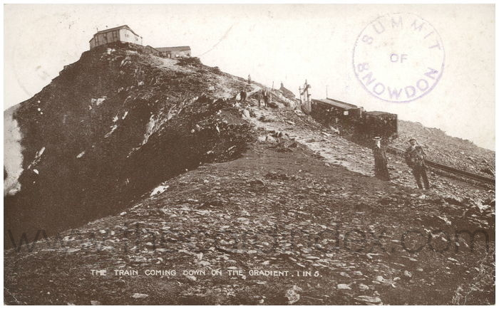 Postcard front: Summit of Snowdon. The Train Coming Down on the Gradient 1 in 5