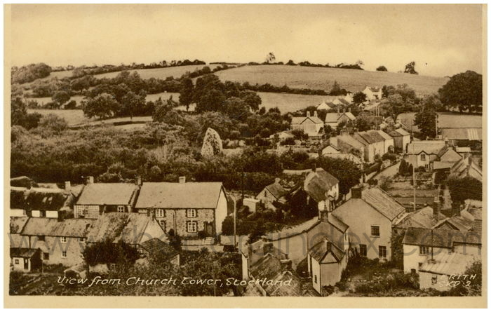 Postcard front: View from Church Tower, Stockland.