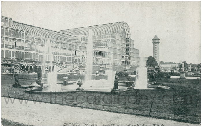 Postcard front: Crystal Palace,. Upper Terrace looking North.