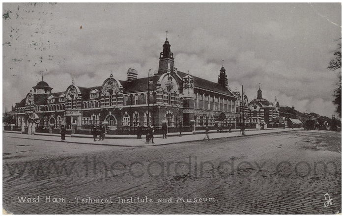 Postcard front: West Ham. Technical Institute and Museum.