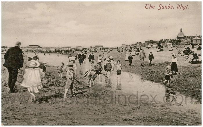 Postcard front: The Sands, Rhyl.