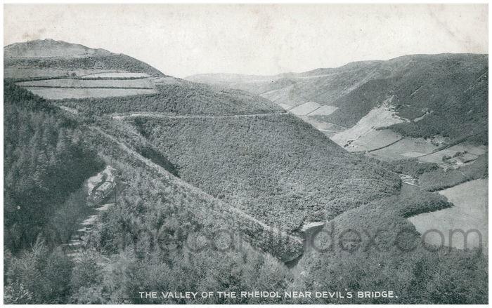 Postcard front: The Valley of the Rheidol Near Devil's Bridge.