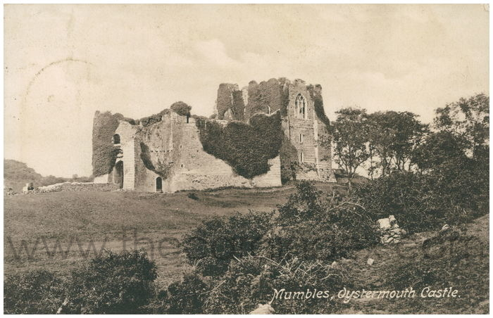 Postcard front: Mumbles, Oystermouth Castle.