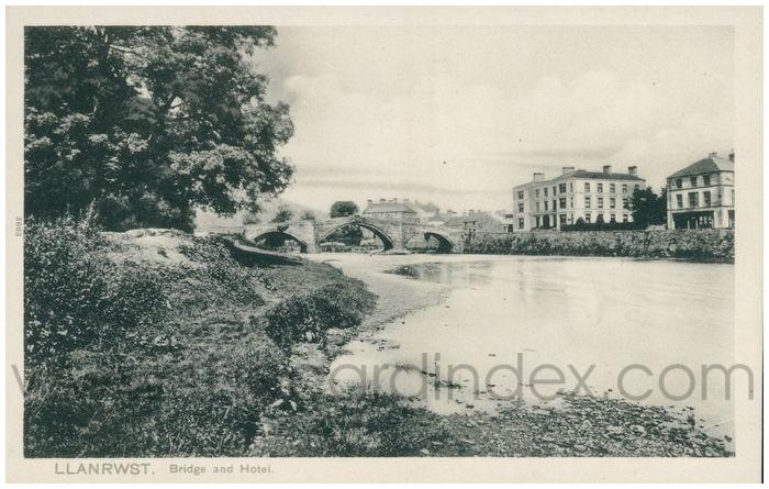 Postcard front: Llanrwst. Bridge and Hotel.