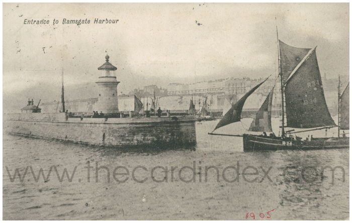 Postcard front: Entrance to Ramsgate Harbour
