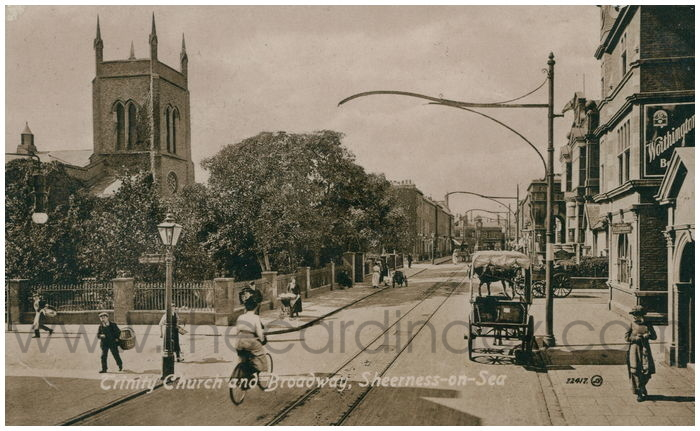 Postcard front: Trinity Church and Broadway, Sheerness-on-Sea