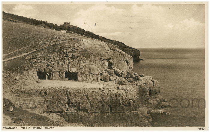Postcard front: Swanage. Tilly Whim Caves