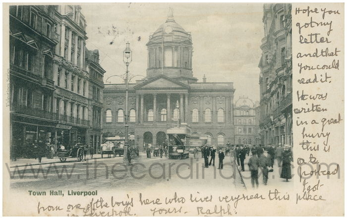 Postcard front: Town Hall. Liverpool