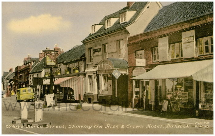 Postcard front: White Horse Street, Showing the Rose and Crown Hotel, Baldock.