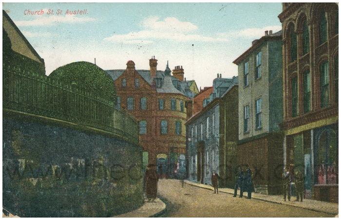 Postcard front: Church St. St. Austell