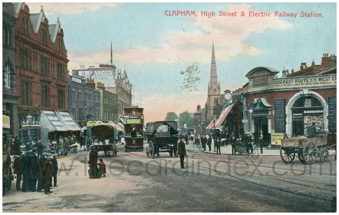 Postcard front: Clapham, High Street & Electric Railway Station.