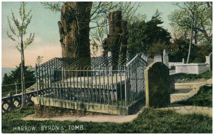Postcard front: Harrow. Byron's Tomb