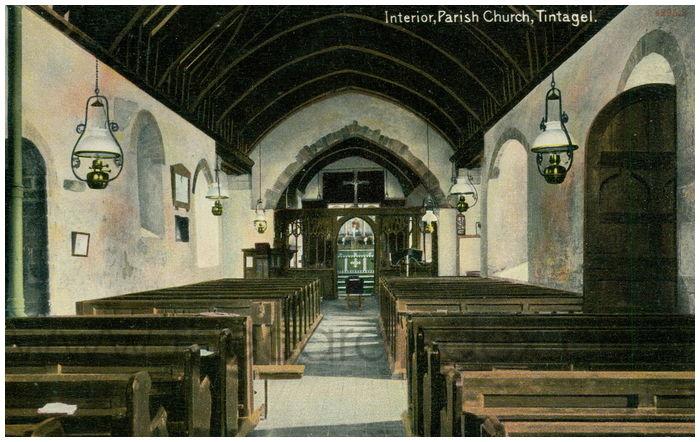 Postcard front: Interior, Parish Church, Tintagel.