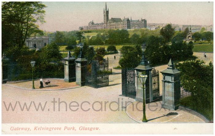 Postcard front: Gateway, Kelvingrove Park, Glasgow.