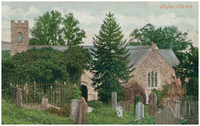 Postcard front: Mylor Church