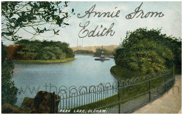 Postcard front: Park Lake, Oldham.