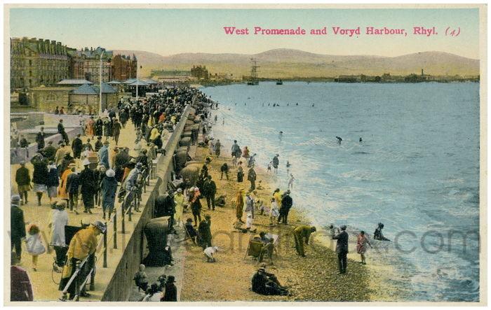 Postcard front: West Promenade and Voryd Harbour, Rhyl.