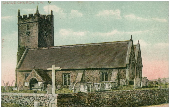 Postcard front: Chale Church. I.W.