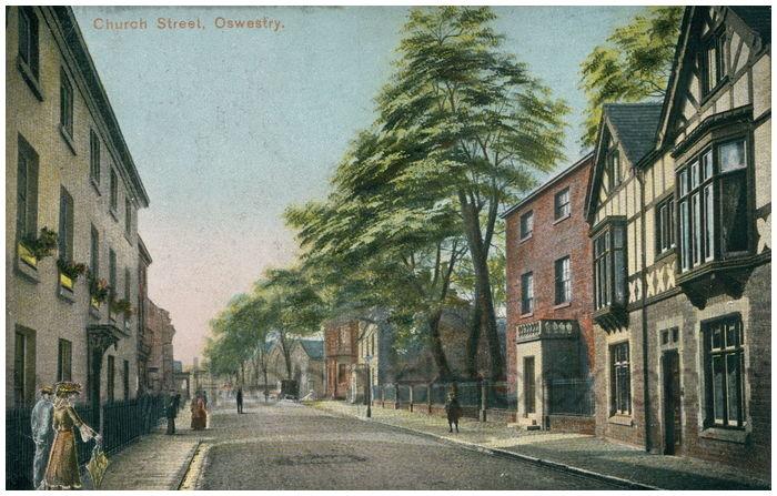 Postcard front: Church Street, Oswestry.