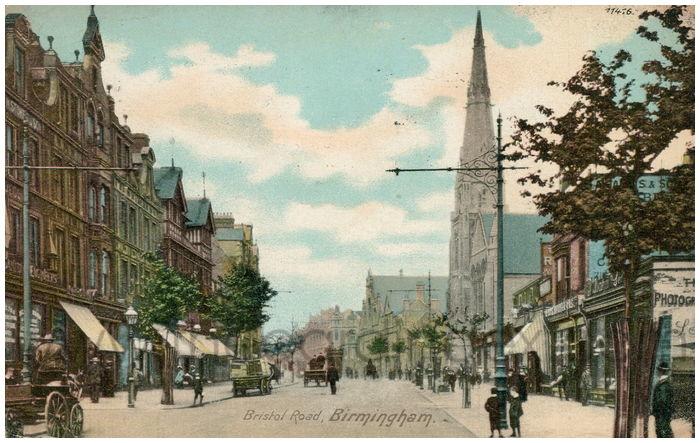 Postcard front: Bristol Road, Birmingham.
