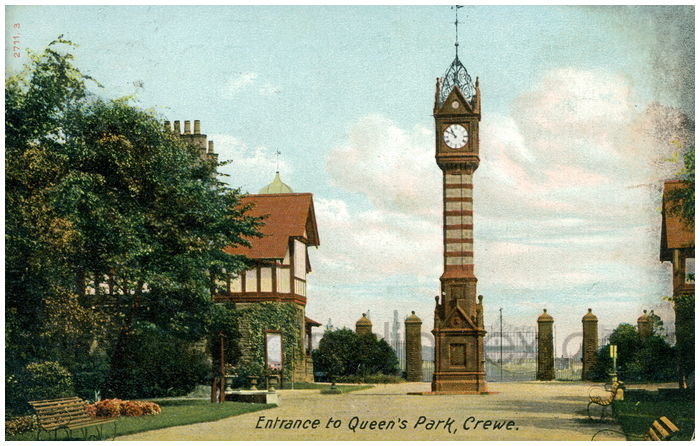 Postcard front: Entrance to Queen's Park, Crewe.