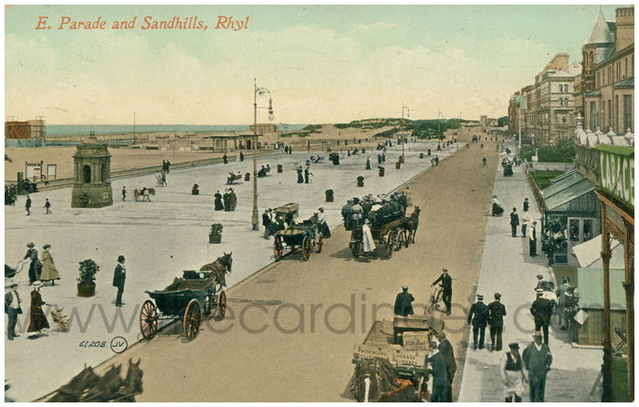Postcard front: E. Parade and Sandhills, Rhyl