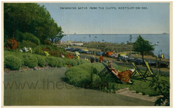 Postcard front: Swimming Baths from The Cliffs, Westcliff-on-Sea.