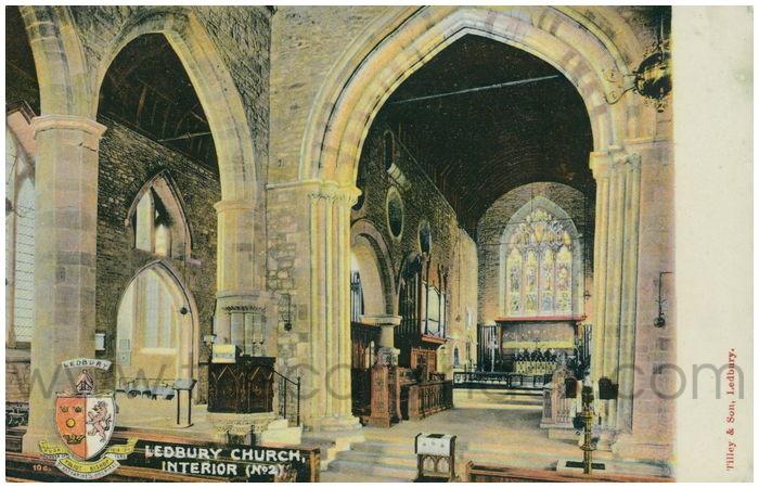 Postcard front: Ledbury Church, Interior