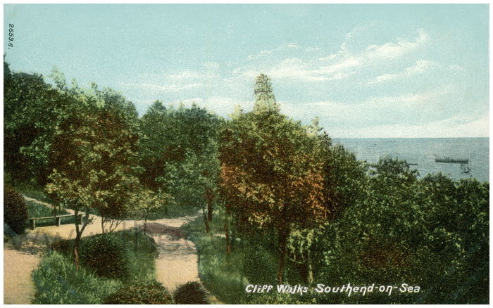 Postcard front: Cliff Walks, Southend-on-Sea.