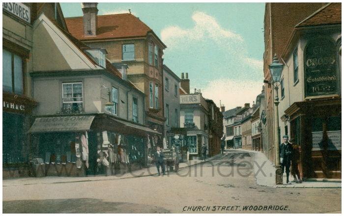 Postcard front: Church Street, Woodbridge.
