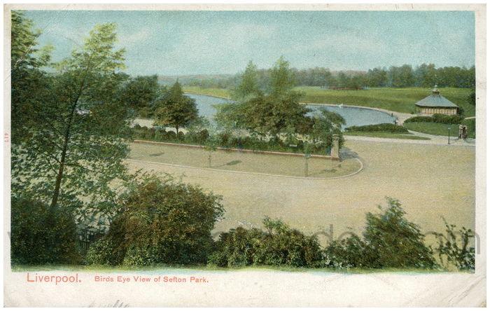 Postcard front: Liverpool. Birds Eye View of Sefton Park.