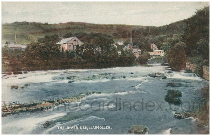 Postcard front: The River Dee, Llangollen.