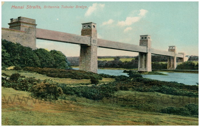Postcard front: Menai Straits, Britannia Tubular Bridge.