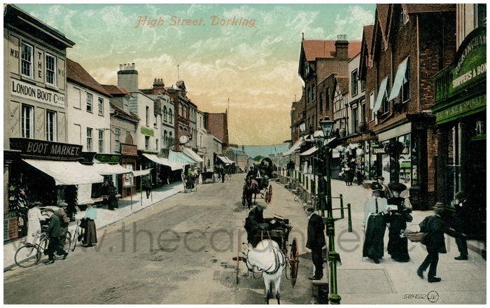 Postcard front: High Street, Dorking.