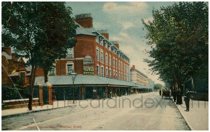 Postcard front: Westgate-on-Sea. Station Road