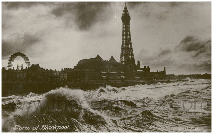 Postcard front: Storm at Blackpool.