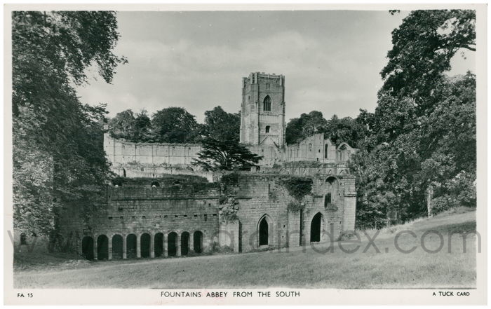 Postcard front: Fountains Abbey from The South